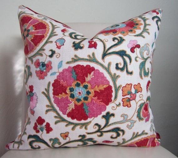 """Decorative Designer Pillow Cover Suzani P Kaufmann Fabric Jewel  colors Reds Pinks Green Off White 20""""x20"""""""