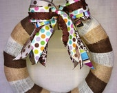 Cream, Brown, and Natural - Medium - Tri-Color Burlap Wreath