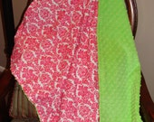 Baby Blanket Hot Pink Damask with Lime Minky Dot