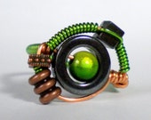 Steampunk Ring - Green and Copper Wire - Green Miracle Bead
