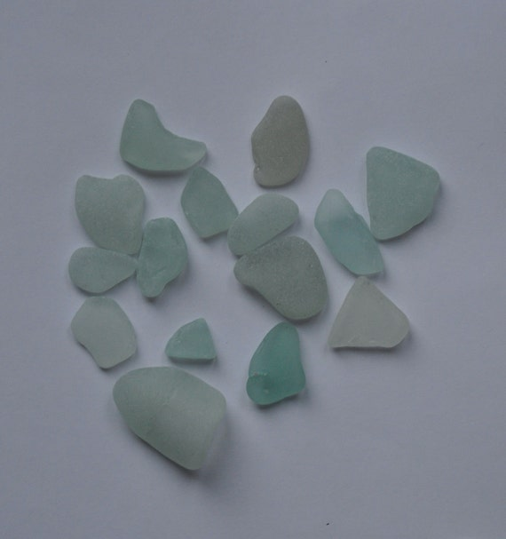 Scottish Sea / Beach Glass - 15 assorted aqua shapes, smooth and frosted