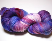 "RESERVED FOR HELEN Hand-painted Sock Yarn ""BlueViolet Rose"" Superwash Merino"