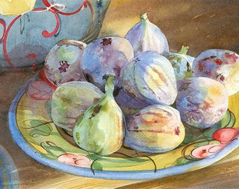 French figs on handpainted plate Watercolour Giclée print
