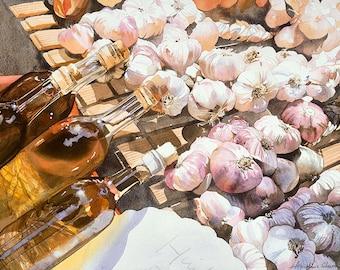 Garlic & Oil Watercolour Giclée print