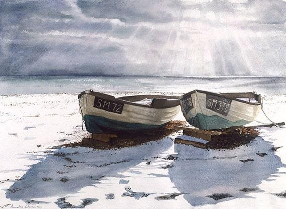 Watercolour Giclée print boats on a snow covered beach