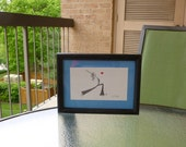 Love Yoga - Cute Framed Original Pencil Drawing - Crescent Moon