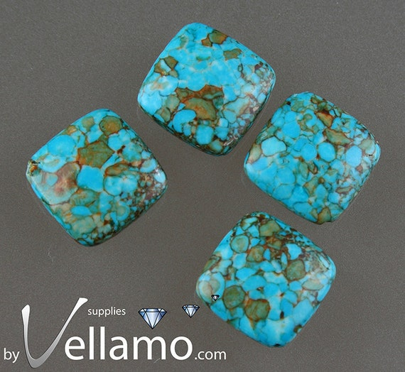 Square shaped mosaic stone turquoise beads, 16-18mm, 4 pieces