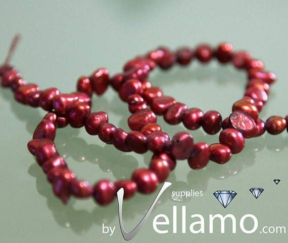 Dark red freshwater pearls, full strand, 14.5in (38cm), 70 beads, 4-5mm diameter