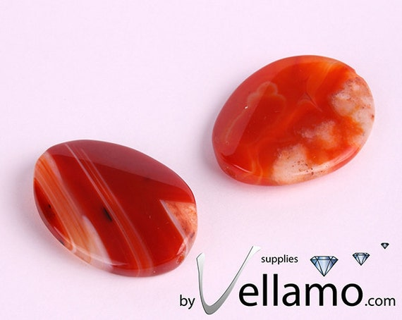 Large agate beads, red, orange, white stripes, 35mm x 28mm, 2 pieces