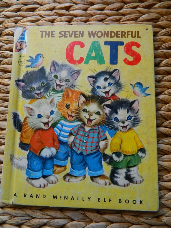 The Seven Wonderful CATS, Rand McNally Elf Book, 1956, Fair Condition, Free Shipping