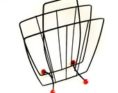 Vintage Atom Age Black Wire Magazine Newspaper Rack with Red Ball Feet