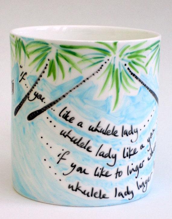 large ceramic ukulele-lady mug