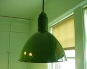 """VINTAGE WAREHOUSE PENDANTS - Original ca 1930 Porcelain Enamel Deep Bowl Reflectors 17""""h x 16"""" Diameter  16 available"""