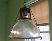 VINTAGE INDUSTRIAL HOLOPHANE - Original Marked No. 6585 Industrial Pendant  Reclaimed from Hungry Horse Dam Project