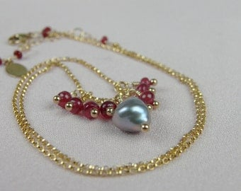 Ruby Necklace-Silver Keishi Pearl-Floating Gemstone Necklace-Bridesmaid Jewelry-Mother's Day