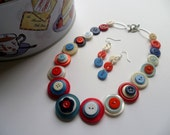 "Patriotic Red, White, Blue, Button Necklace/Choker, 15.5"",  and Earrings,"