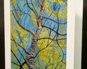 "Art: Free-form Embroidery, Birch Trees, 5x7"" Fiber Art Blank Note Card"