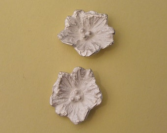 silver flower, earring component, cast flower, earring findings, silversmith supplies UF005-2