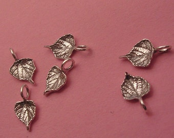 small leaf charms grape leaf charms sterling silver charms LC006-6