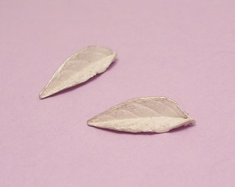 small leaves, raw sterling silver, leaf casting, hand cast, solder ready, leaf component UL041-2