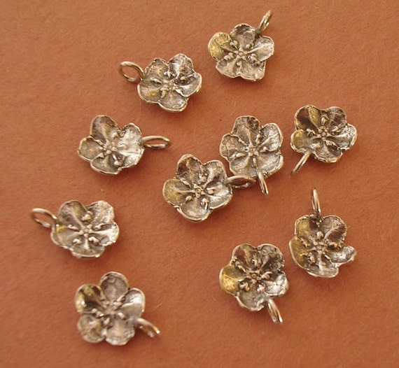 forget me not charms sterling silver handmade cast findings FC001-10