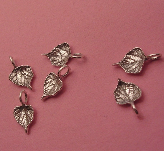 tiny grape leaf charms sterling silver charms LC006-6
