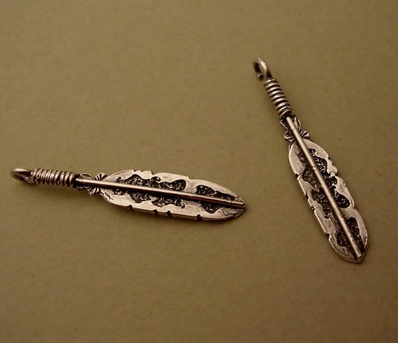 tiny sterling silver charms southwestern feather charms C100-2