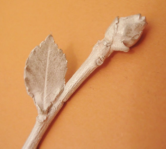 long stem rose, jewelry making supply, flower finding, sterling silver, cast flower UF007-1
