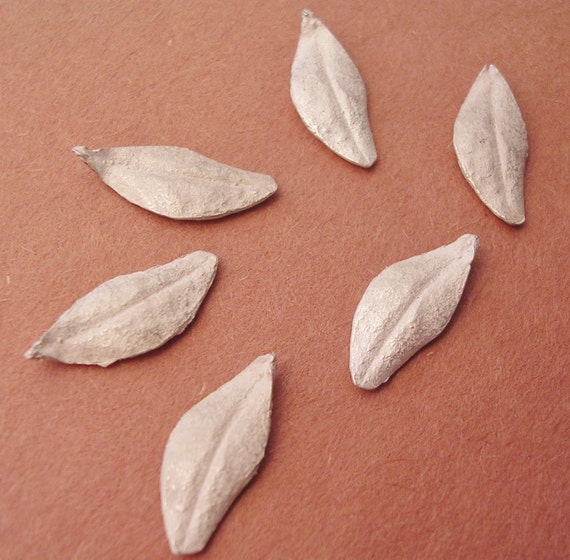 leaves cast sterling silver leaf findings silversmithing supplies UL020-6