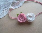 Baby Headband     Flower Headband    Wool Felt  Flower Headband      Pink Headband   Newborn Baby Infants Toddler Children Photo Prop-