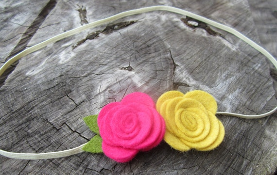 Baby Headband Flower Headband Wool Felt Flower Headband Pink Headband Newborn Baby Infants Toddler Children Photo Prop-