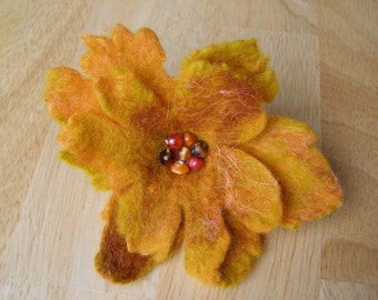 Orange & Gold Felted Flower Brooch