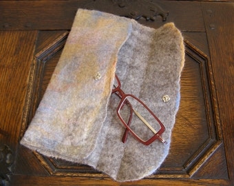 Nuno Felted Eyeglass Glasses Case Purse 'Summer Skies' Small felt bag