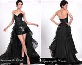 RESERVED FOR BoRoShan Cocktail Black Satin Dress with sequins and train, any size, custom dress