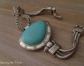Beautifull Silver Bracelet with Turquoise Stone Inspired by Greece with chaines jewelry