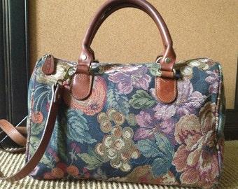 Vintage Floral Tapestry & Brown Leather Crossbody Handbag