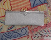 "silver evening bag, rhinestones, vintage bag with ""diamonds"""