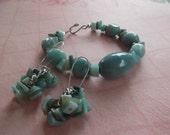 seafoam green and blue bracelet and earrings