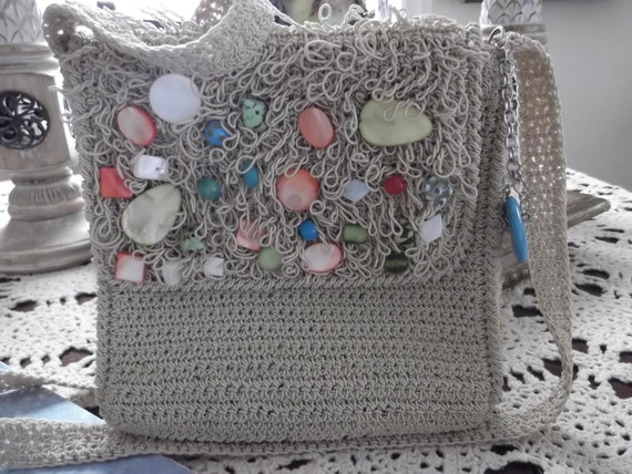crossbody  summer purse with beads.