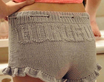 Gorgeous Shorties Grey Knitted Ruffle Shorts KNITTING PATTERN INSTRUCTIONS
