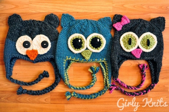 Owl Be There Family of Animal Hats KNITTING PATTERN Charcoal Blue Bear Owl Hat, Teal Owl Hat, and Grey Cat Hat