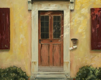 Original Oil Painting - 20 x 16 - Old Door In Southwest Germany