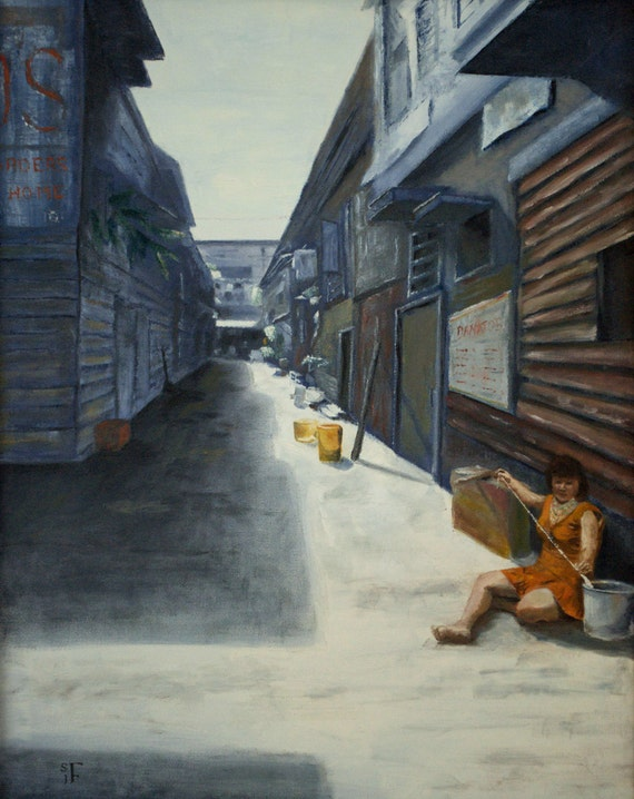 Original Oil Painting - 20 x 16 inches- Barrio