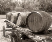 Old West Vintage Aged WINE BARREL WAGON Photo Sepia Winery Western Rustic Oak Tree Photography