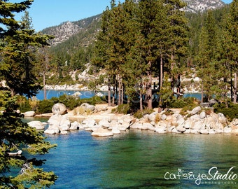 "Lake Tahoe Landscape Photography, High Sierras Photography, Blue Green Lake, Nature, Pine Trees, Lake Shore  ""Tahoe Lakeside"""
