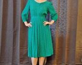 Kelly Green Secretary/School Teacher Dress with lace Peter Pan Collar
