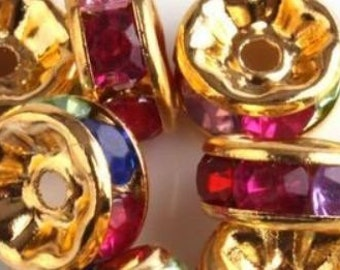 Basketball Ball Wives Gold Rondelle Spacers Bead Multi Colored Rhinestone 8mm 20 pieces