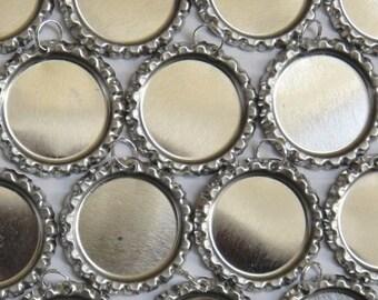 Flattened Bottlecaps - Linerless - Attached Split Ring - 10 Bottle Caps