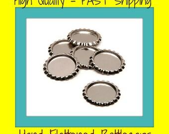 100 Flattened Bottlecaps (no hole) - Linerless -  bottle cap jewelry - bottlecap charms - bottle cap magnets- flat bottlecaps