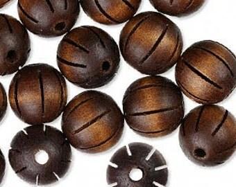 20mm Handcut Fluted Wood Beads in Dark Brown Pkg/10